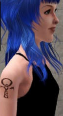 Girl with Ankh Tattoo on Shoulder