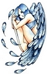 blue winged angel sitting