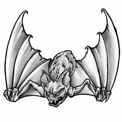 Ugly scary bat tattoo