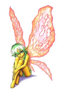 Green hair Fairy  			with Large Pink wings