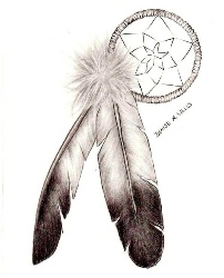 dream catcher two feather tattoo