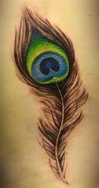 colorful peacock feather tattoo picture