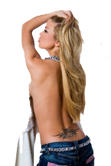 Very Beautiful blonde with lower back tattoo