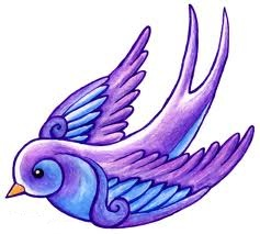 Blue Purple Swallow Tattoo