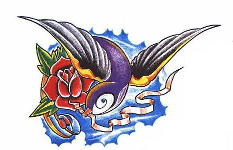 swallow rose tattoo