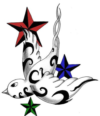 swallow tattoo with stars