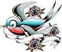 Swallow Tattoo Banner and Roses