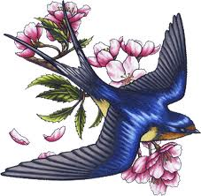 swallow and flowers tattoo