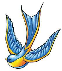 blue and yellow swallow tattoo