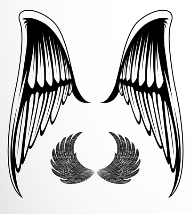 single color wing tattoo ideas