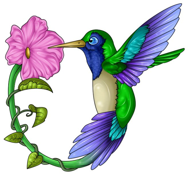 Hummingbirds with pink flower