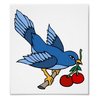 Bluebird with cherry Tattoo Idea