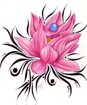 tribal lotus flower tattoo