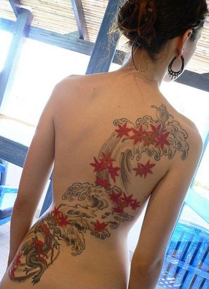Girl with Japenese Tattoo on full back