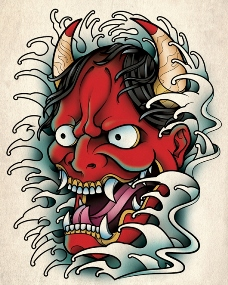 Hannya red devil mask