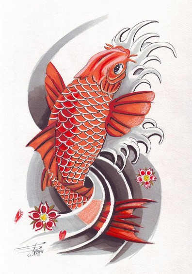 Koi tattoo meanings ideas for koi tattoos for Black koi fish meaning