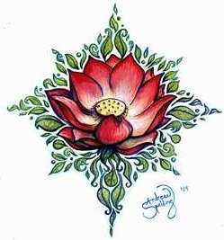red lotus flower tattoo