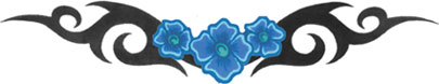 blue flower band tattoo tribal