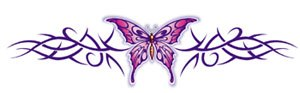 purple butterfly band tattoo