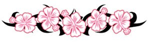 pink flower lower back tattoo