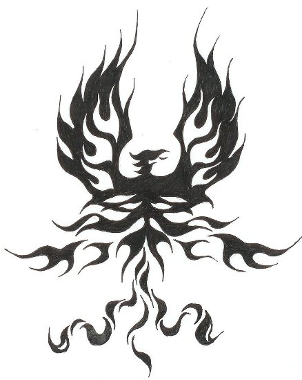 single color phoenix tribal tattoo