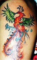 multi color picture of phoenix tattoo