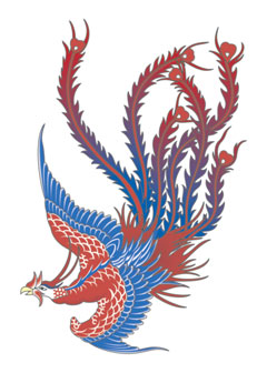 blue red Phoenix Tattoo Idea