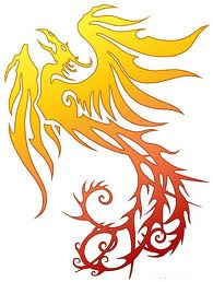 yellow orange Phoenix Tattoo Idea