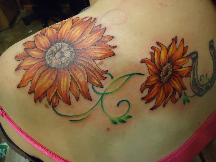 flower tattoo on back sunflower tattoo on foot on back of shoulderRealistic Sunflower Tattoo On Shoulder